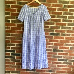 Vintage Purple Checked Midi Dress